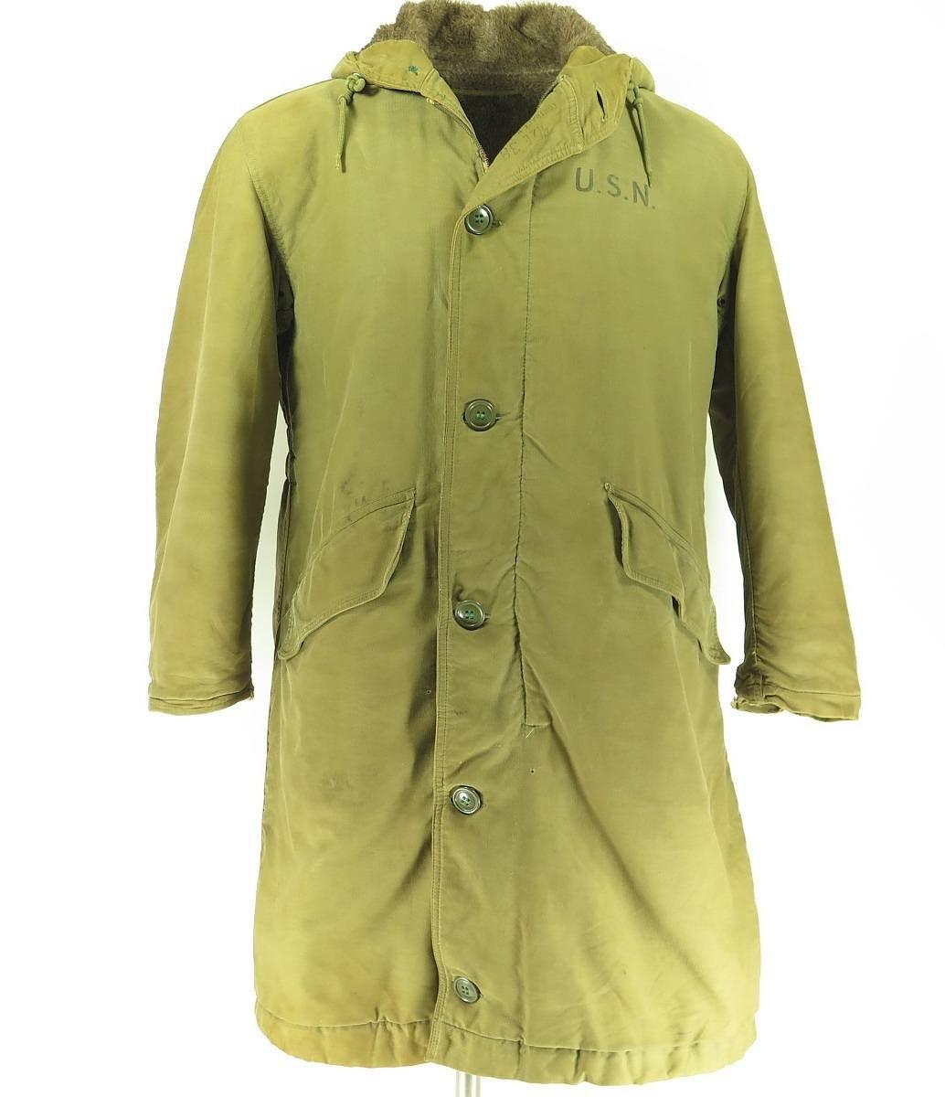 Vintage 40s Wwii Usn Navy Military Deck Jacket Coat 38 Nxsx
