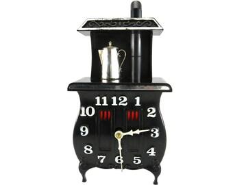 Vintage Clock Pot Bellied Stove Clock Kitchen Clock by SPARTUS 1960s Clock Retro Kitchen Decor Vintage Kitchen Clock Rustic Kitchen Decor