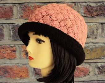 Pink Beanie, Pink Hat, Short Brim Hat, Wool Hat, Women's Winter Hat with Brim, Fedora, Ladies Hat, Brim Beanie, Gifts for Her, Sue Maun