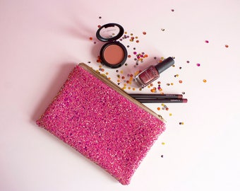 Pink & Rose Gold Glitter Makeup Bag, Pink Glitter Cosmetic Bag, Sparkly Pink Makeup Bag, Pink Glitter Zipped Pouch, Sparkly Travel Pouch,