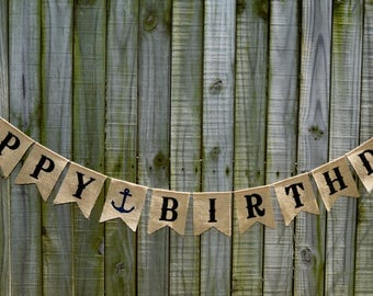 Custom Burlap Banner Happy Birthday  Birthday Banner 10th, 20th,30th,50th Bunting Garlands