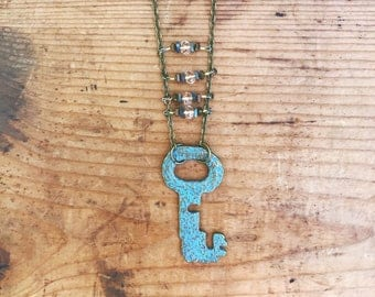 Boho Chic Ladder Necklace - Brass and Blue Shabby Chic Skeleton Key Necklace with Labradorite -  Key Necklace