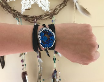 Royal Blue Geode Black Wrap Bracelet - Large Druzy Suede Wrap Bracelet - Pave Rhinestone Edge Agate Bracelet