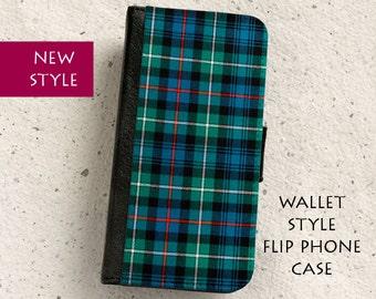 iPhone Case (all models) - Mackenzie Tartan - Scottish - Wallet style flip case -  Samsung Galaxy S4,S5,S6,S7Edge,Note5,S8 & more