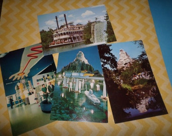 Disneyland Vintage Postcard set of 4 Disney 1960's Vintage Monsanto Submarine Matterhorn WOW