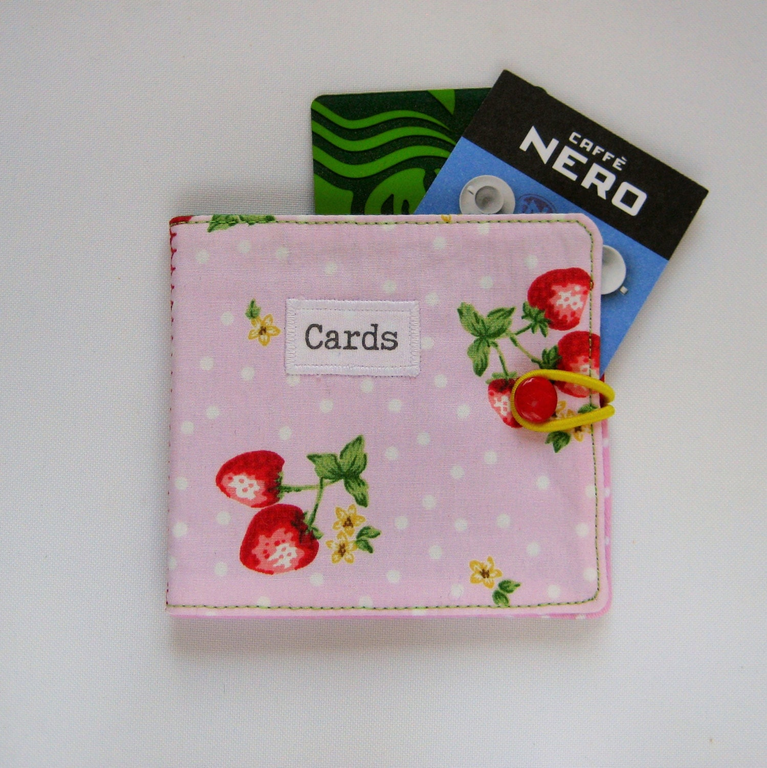 handmade fabric store card case in cute pink strawberry and polka