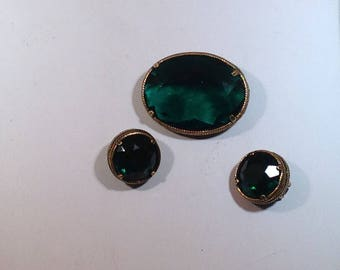 Emerald Green Colored Brooch and Earrings