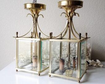 Vintage pair lantern lights glass etched starburst lighting foyer patio entry pendant chandelier fixtures set of 2