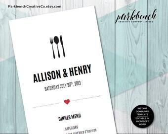 Wedding Menu Template Printable Wedding Dinner Menu, Editable Wedding Menu Card, Printable Template, Printable Menu   2500