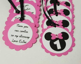 Minnie mouse birthday - minnie mouse party - minnie mouse gift tags - minnie mouse decorations - minnie mouse favors - minnie mouse tags