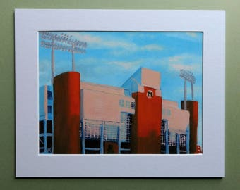 "Fine Art Print ""Joan C Edwards Stadium at Sunset"" 6x8 print matted to 8x10"