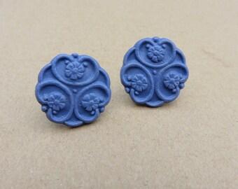 Violet - Vintage floral clay earrings