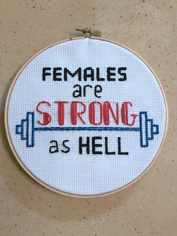 Unbreakable Kimmy Schmidt Females Are Stong As Hell Quote Embroidery Hoop Art Feminist Wall Decor