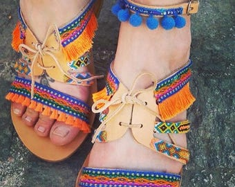 "Greek Leather Sandals, Gladiator sandals, Strappy sandals, Boho sandals, pom pom sandals, colorful hippie sandals, Spartan sandal, ""KORALIA"""