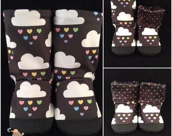 Raining Hearts Sports Lycra/Minky Stomps-Baby/Toddler Seamless, Soft-soled Boots: Size 8 w/Soft Soles