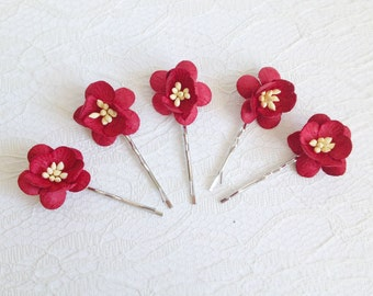 Red Cherry Blossom Clips, wedding hair accessories, wedding flower pins, bridal hair clips, flower pins, red cherry blossom pins