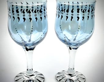 blue hand painted wine glasses set of two decorated wine glasses painted wine