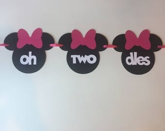 oh TWO dles, Minnie Mouse Banner, 2nd Birthday, Black and Pink, Highchair Banner, Birthday Banner