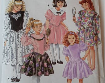 Vintage Simplicity Sewing Pattern 8011 Girls' Dress in 2 Lengths in size 7, 8, 10