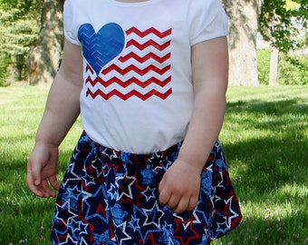July 4th Children Shirt - Girls 4th of July Shirt - Girls Fourth of July Shirt  - Girls Patriotic Shirt - Girls Flag Shirt
