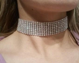 Choker Rhinestone Necklace, Bling, Diamond Choker, Crystal Choker, Celebrity Trend