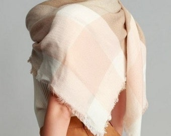 SALE Mocha Brown Blanket Scarf, Large Blanket Scarf, Womens Scarves, Plaid Scarf, Tartan Scarf, Blanket Plaid Scarf, Oversized