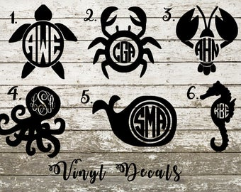 Vinyl Decal Sticker - Sea Turtle - Lobster - Crab - Octopus - Whale - Sea Horse - Monogram - Beach - Animals - Car Window - Laptop - Tumbler