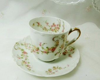 Antique Haviland France // Demitasse Tea Cup and Saucer // Marked The Norma by Haviland & Limoges  // Pink and Yellow Flowers