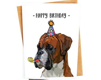 Boxer Dog Illustration Birthday Card | Greetings Card | Funny Card | Humorous Hand drawn Card | Animal Cute Card | Quirky Fun