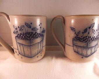 Vintage Mugs Two Salt Glazed Stoneware in Blueberry Basket Pattern by Salmon Fails
