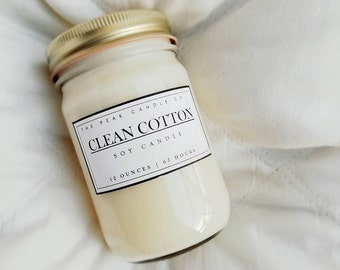 Clean Cotton Mason Jar Candle | 12 Oz. Soy Candle