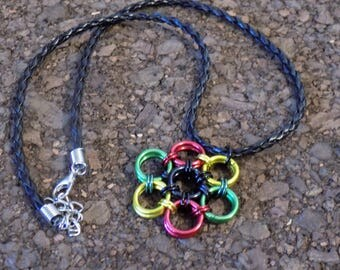 Rasta Colored Chainmaille Pendant with Necklace