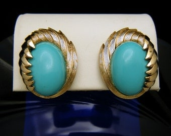 Crown Trifari Earrings Turquoise Lucite Cabochons 1960s Gold Tone Clip Ons
