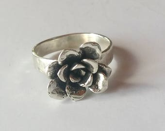 Silver Flower Ring Size 9.5, Succulent Statement Ring, Sterling Silver Sedum Ring, Succulent Jewelry, Cactus Flower Ring