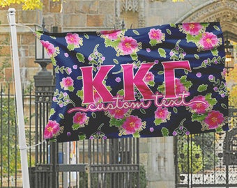 Kappa Kappa Gamma flag, Navy blue with bright hot pink floral, 3 x 5 feet Polyester mesh, Customizable Sorority gift, KKG letters Room decor