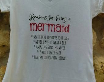 Mermaid shirt, Mermaid adult top, Mermaid gift ideas, Reasons for being a mermaid shirt, mermaid shirt, mermaid gift, mermaid top