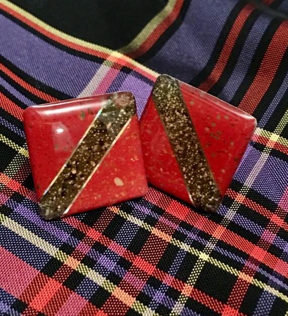Vintage Modern color block red & black graffic Square earrings  with metalic flecks pierced