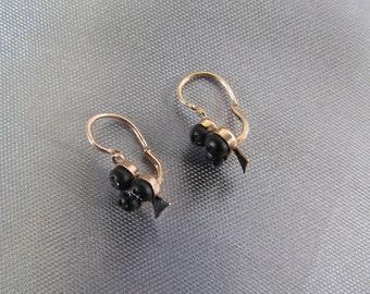Antique French Earrings Sterling silver Vermeil, Jet Black Stud Earring Clover, Dormeuses Clover