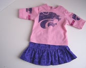 Pink Kansas State Wildcats Up-Cycled T-Shirt with Purple Sparkly Skirt - Fits 18 inch Girl dolls