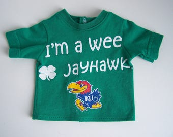 Upcycled Green Wee Jayhawk KU Kansas University T Shirt - fits 18 inch boy and girl dolls
