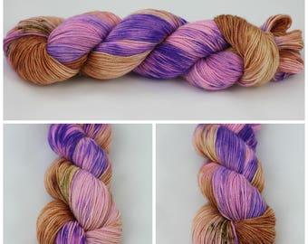 Glitz Sock - Hand dyed yarn - {Who run the World? GIRLS!} peach, orange, pink, purple with speckles of rust, speckled sock yarn
