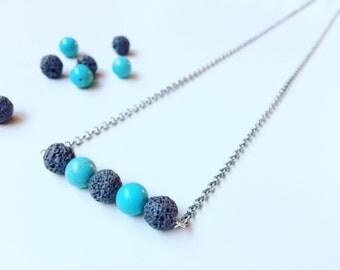 3 Brown Lava & Aqua Amazonite Necklace, Essential Oil Diffuser, Cross Bar Necklace, Clay Lava Bead, Minimalist, Modern Aromatherapy Jewelry