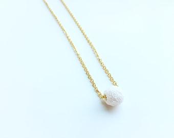 1 White Lava Necklace, Essential Oil Diffuser, Clay Lava Bead, Minimalist, Modern Aromatherapy Jewelry