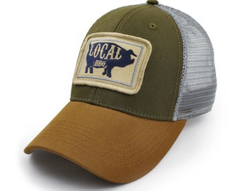 Everyday Trucker Hat, Structured, Local BBQ Pig, Earth