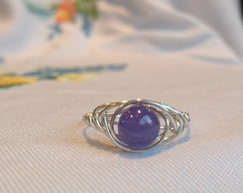 Tanzanite Sterling Silver wire-wrapped ring size 7