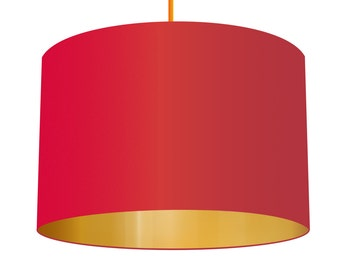 Red Linen Fabric Drum Lampshade With Brushed Metallic Gold Effect Lining, Small Lampshade 20cm - Large Lampshade 40cm