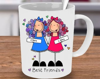 Best Friends Mug, Friends Mug, Personalised Mug, Custom mug, Personalised friends mug, BFF Mug. Friends Coffee Mug, handmade Mug, Friends