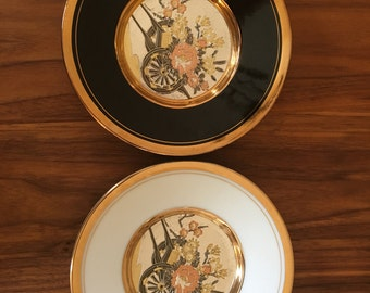 Two Vintage Japanese SAMURI Gold Trimmed Hand Painted CHOKIN PLATES
