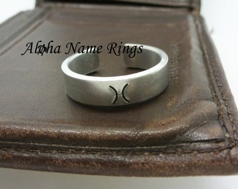 Zodiac Sign - A Custom Hand Stamped Adjustable Aluminum Ring Stamped With Your Zodiac Sign.