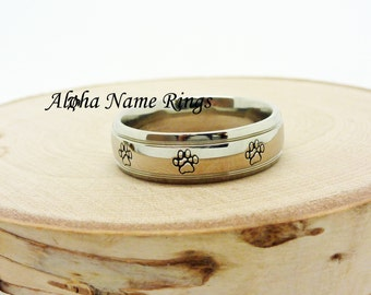 Pet Paws - Stainless Steel Ring With Domed Stepped Edges.  Hand Stamped ANR-RM0021 Celebrate Your Pet